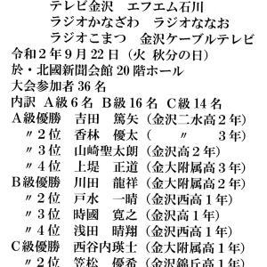 【大会結果】高校将棋選手権石川大会