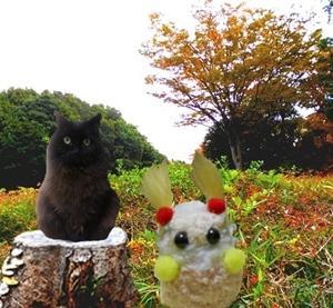 黄昏森の野原にて 黒猫クーさんと三月ウサギさん