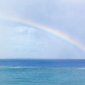 散文夢想「夏の渚で見る虹は爽快で透明な暑い思い出」。