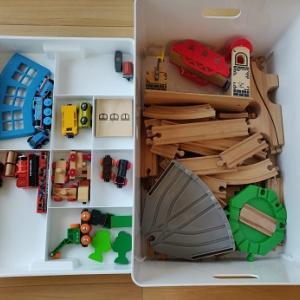 IKEA収納グッズを使った電車セット収納見直しで、こどもが自分から片付けるように!