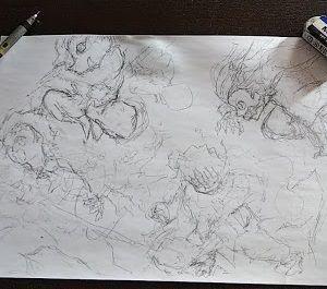 鬼滅の刃イラスト・ 炭次郎、伊之助、善逸、ねずこ4人の集合絵です。