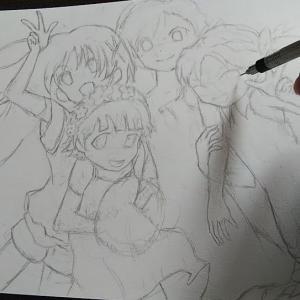 とある科学の超電磁砲・色鉛筆イラスト。「Real Force」のワンシーンを元に御坂美琴達を描きました。
