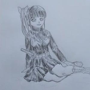 鬼滅の刃の栗花落カナヲの シャーペン描きです。