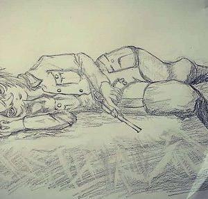 アニメ「幼女戦記」 ターニャ・デグレチャフのシャーペン描きです。