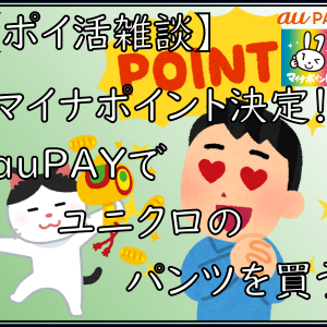 【ポイ活雑談】マイナポイント決定!auPAYでユニクロのパンツを買う!