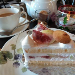 フレッシュなイチジクとクリームがたっぷり☆イチジクのショートケーキ☆紅茶と共に@フロインドリーブ