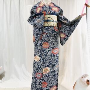 可愛い 型染めの単衣の着物