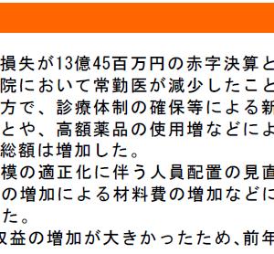 新潟県立病院 19年度決算 経常赤字10億円