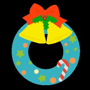 クリスマスリースのイラスト(淡い色)