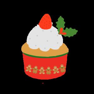 カップケーキのイラスト (クリスマスデコレーション)