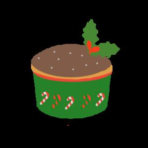 クリスマスカップケーキのイラスト (チョコレート)