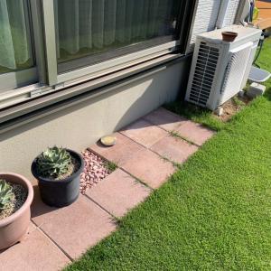 犬走り DIY計画 室外機と芝生問題