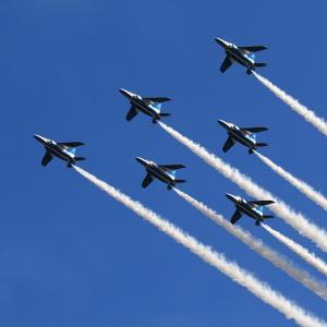 近所の公園へブルーインパルス展示飛行の予行を観てきました