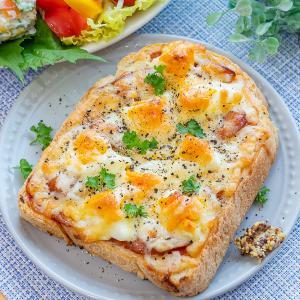 ガッツリ♪卵とソーセージのピザトースト(^O^)/