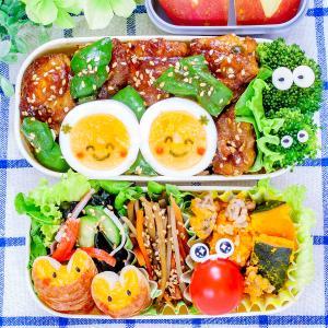 お弁当にピッタリ!鶏の甘辛カレー炒めと卵ちゃんのっけ弁当♪