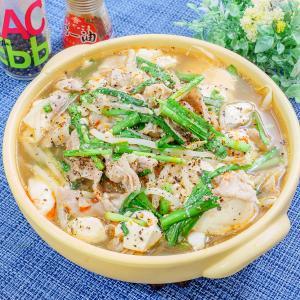 5分で完成!豆腐と豚バラもやしのごま味噌おかずスープ♪
