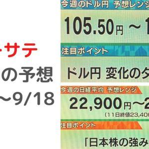 モーサテ見逃した方へ 予想レンジ 2020/9/14~9/18 【モーニングサテライト今週のまとめ】