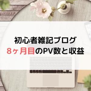 【ブログ運営】初心者雑記ブログの8ヶ月目のPV(アクセス数)と収益