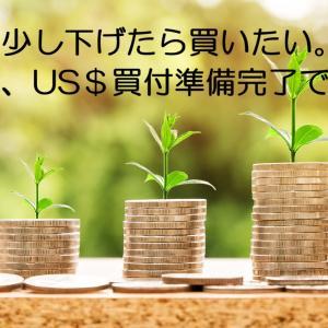 US$を買付ました、さらに下げれば、米国株やETF購入します。