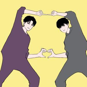 ダンス練習中の男子高校生