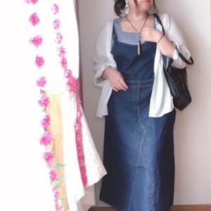 1枚持ってると便利な年中使えるデニムサロペットスカートの夏コーデ3L〜4L