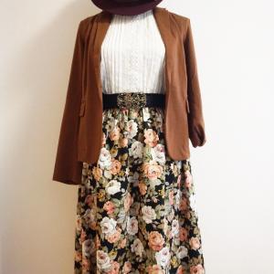 ミモレ丈のクラシカルな花柄スカートを作りました