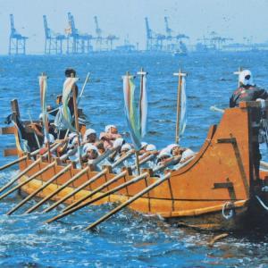 古代船「海王」で大王のひつぎ大航海