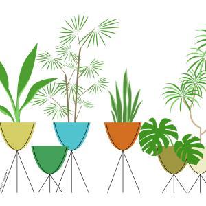 インテリアイラスト|バレットプランターと観葉植物|ミッドセンチュリーテイスト