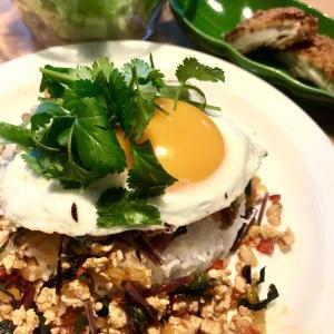 調味料2つ。材料切ったら5分でできる人気タイ料理ガパオライス風