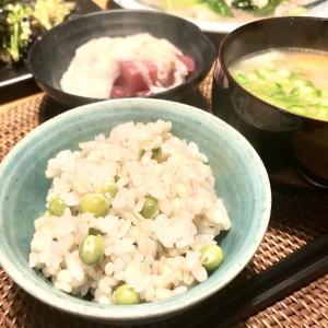糖質オフ 春に食べたいもち麦ご飯の豆ごはん