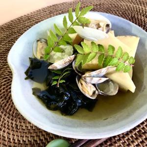 旬の食材を食べよう たけのことワカメの若竹煮をアサリ出汁で
