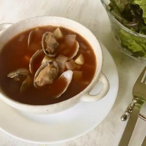 旬の食材を食べよう あさりの真っ赤なスープ マンハッタンクラムチャウダー