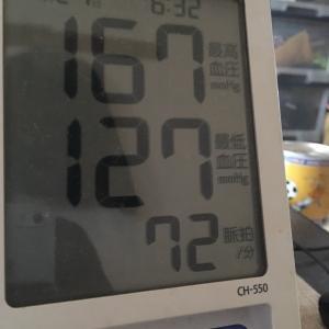 自宅待機中おっさんの今朝の血圧と体重