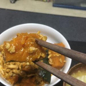 おっさんの独り晩飯 南瓜の挽肉あんかけ煮物