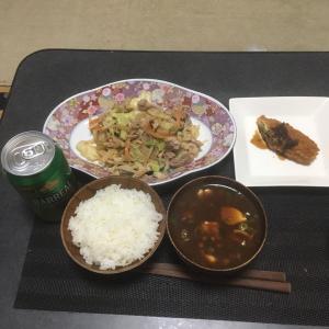 おっさんの独り晩飯 ナメコの味噌汁(赤味噌)肉野菜炒め