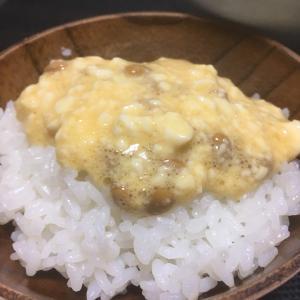 おっさんの独り晩飯 豆腐と納豆と卵混ぜ混ぜ