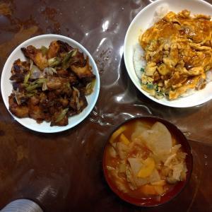 昨日の昼食と夕食、夕食は昼食のコンソメスープを流用してトマトスープ作ったり、鶏肉をポン酢で炒めてみたり...