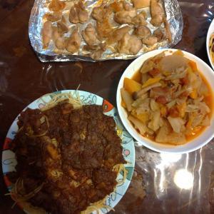 昨日の夕食は、残ったトマトスープを使ってパスタを作ってみた。