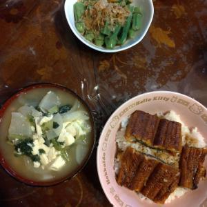 昨日の昼食と夕食、いろいろあって親父作の料理が多くなってしまった(^o^;)