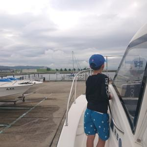 息子と沖へ