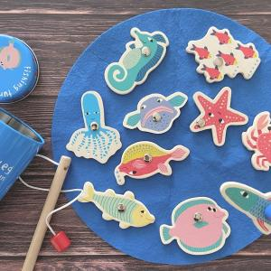 【知育玩具】木のぬくもりが感じられるフライングタイガーの魚釣りのおもちゃ♪
