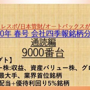 2020年 春号 会社四季報 バリュー株、大型株、資産株 銘柄分析 9000番台