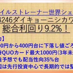 【株主優待】QUOカード1000円 ダイキョーニシカワ(4246)  配当+優待利回り9.2% 【資産株お勧め72.】