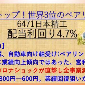 日本精工(6471) ベアリング国内最大手! 配当利回り4.7% 【資産株お勧め105.】