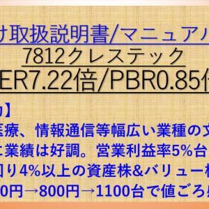 クレステック(7812) 取扱説明書・マニュアル作成特化! PER7.22倍 PBR0.85倍! 配当利回り4.3% 【バリュー株分析.4】