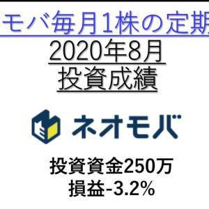 【2020年8月投資成績-3.23%】投資資金251万 ネオモバ高配当株の定期買付