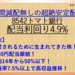 30年間減配無し! トマト銀行(8542) 配当利回り4.9%【ネオモバ高配当株分析1.】