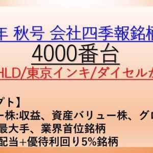 2020年 秋号 会社四季報 バリュー株、大型株、資産株 銘柄分析 4000番台