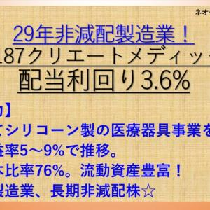 29年非減配の使い捨て医療器具メーカー!クリエートメディック(5187) 配当利回り3.6% 【ネオモバ高配当株分析.7】