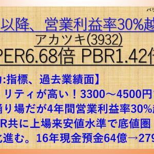 17年以降営業利益率30%越え! アカツキ(3932) PER6.68倍 PBR1.42倍【バリュー株分析43.-①】